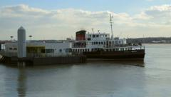 Mersey ferry leaves pier head, liverpool Stock Footage