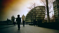 Rush hour in London, view to Tower Bridge and City Hall - stock footage