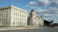 cunard building and port authority building at liverpool pier head - stock footage
