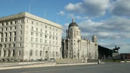 Stock Video Footage of cunard building and port authority building at liverpool pier head
