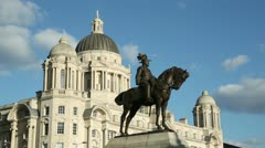 statue of king edward vii, port of liverpool building, england - stock footage