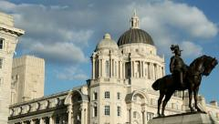 pan of cunard building and port of Liverpool building - stock footage