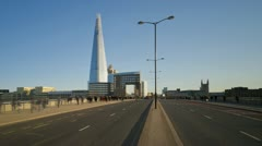 London. The Shard, London Bridge and Commuters Time Lapse Stock Footage