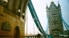 Rush hour in London, view to the Tower Bridge Stock Footage