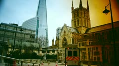 Rush hour in London, view to the The shard and Southwark Cathedral Stock Footage