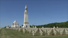 Lantern Tower & Basilica, Notre Dame de Lorette French Military Cemetery, France Stock Footage