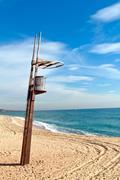 beach aid station montgat barcelona, costa mediterranea - stock photo