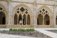 monastery of santa maria de poblet cloister - stock photo