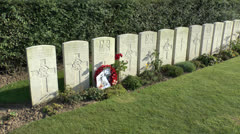 Poet Wilfred Owens grave & the Ors Communal Cemetery, Ors, France - stock footage