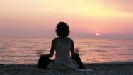 Stock Video Footage of Girl Meditating At Seashore