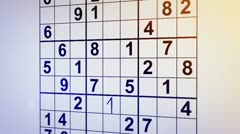 Solving sudoku puzzle animation Stock Footage