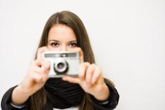 young photographer. - stock photo