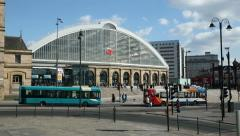 City buses pass liverpool lime street railway station Stock Footage
