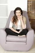 woman relaxing at home - stock photo
