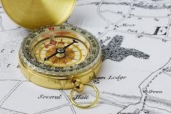 Stock Photo of brass compass