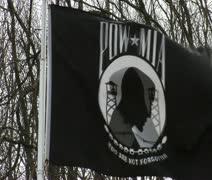 POW MIA Flag wave Stock Footage