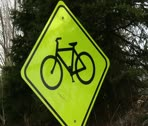 Stock Video Footage of Bike crossing sign