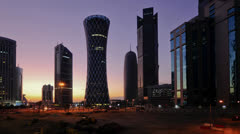 Qatar, Doha, right to left Palm Tower, Burj Qatar, Tornado Tower - Time lapse Stock Footage