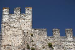 Castle wall and defensive tower, isolated Stock Photos