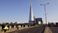 Stock Video Footage of London. The Shard, London Bridge and Commuters Time Lapse
