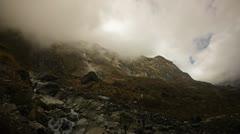 Himalayan mountain stream near the crevasse in the Annapurna region Stock Footage