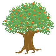 year apple tree - stock illustration