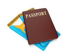 Stock Illustration of sign trip. group ticket and passport, holidays abroad