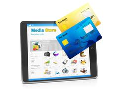 Tablet pc, payment for goods in the media store. tablet computer and group of Stock Illustration