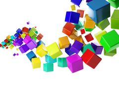 3d illustration: abstract idea. group of colorful cubes flying in the air Stock Illustration
