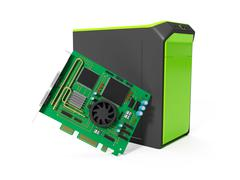 3d illustration: system unit and a chip on a white background - stock illustration