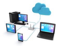 Wi fi verkosto elektronisia laitteita. Piirros