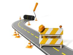 3d illustration: repairs, maintenance and construction of pavement Stock Illustration
