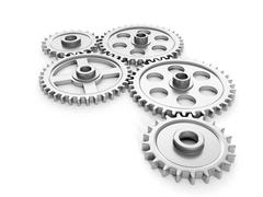3d illustration: group gears on a white background Stock Illustration