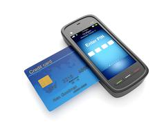 3d illustration: credit card and mobile phone Stock Illustration