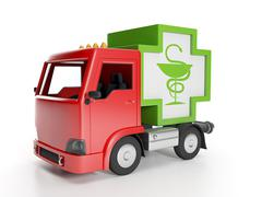 3d illustration: truck and medicine. delivery of medical supplies Stock Illustration