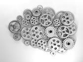 3d illustration: business ideas. brain in gear made ??of the generation of ne Stock Illustration