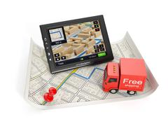 3d illustration: trucking in the city. map and gps with a truck on a white ba - stock illustration