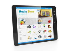 store media applications. tablet pc with an open webpage copper store - stock illustration