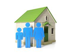 3d illustration: credit and fears. new housing for every family Stock Illustration