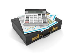 3d illustration: accounting and data analysis. the portfolio of documents and Stock Illustration