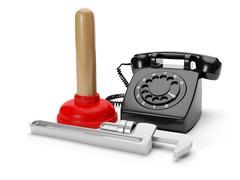 3d illustration: calling plumbing repair service order. phone plunger wrench  - stock illustration