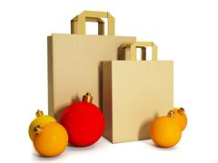 3d illustration: new year, a paper bag and a group of christmas balls - stock illustration