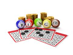 3d illustration: lottery bingo and a group of gold coins. gamble - stock illustration