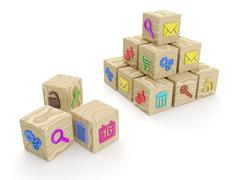 3d illustration: a group of wooden blocks, the mobile will Stock Illustration