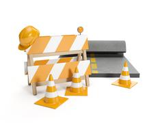 3d illustration: repair roads, replacing the road. signs - stock illustration