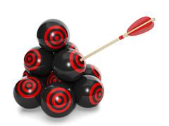 3d illustration: business concept. group of balls with a target and arrow in  Stock Illustration