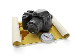 3d illustration: travel and leisure tourism. the camera and a map with a comp Stock Illustration