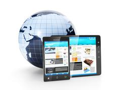 Mobile phone of electronics. earth model tablet computer and mobile phone are Stock Illustration