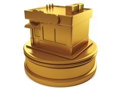 3d illustration: sales and purchases. gold shop, the prize for the best shop Stock Illustration