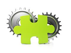 Part of the company. puzzle and pinion idea of a large company Stock Illustration